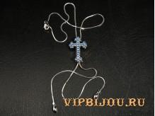Кулон Крест голубой