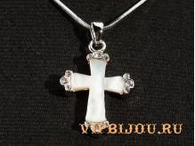 Кулон Крест перламутровый