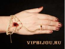 Слейв-браслет Амина красный золото