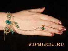 Слейв-браслет Наира голубой золото