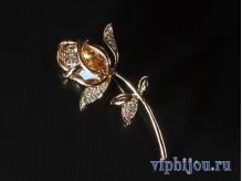 Брошь Янтарная роза
