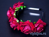 Ободок Венок из бордовых роз